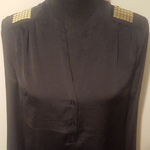 The Limited Black 3 Button Blouse w/Gold Shoulder
